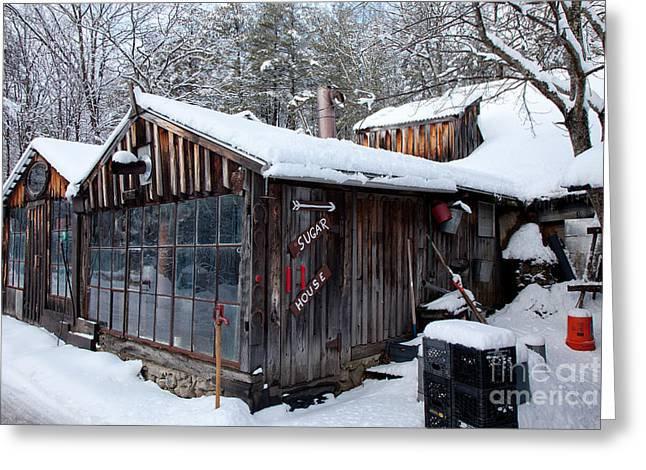 New England Village Greeting Cards - Parkers Sugar House Greeting Card by Susan Cole Kelly