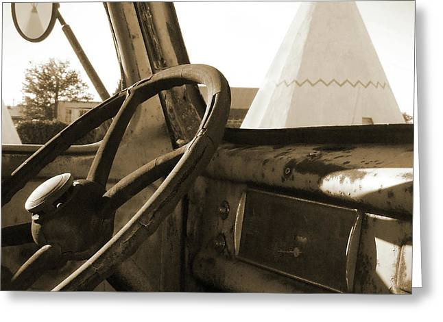 Sepia Mixed Media Greeting Cards - Parking at the WigWam Greeting Card by Mike McGlothlen