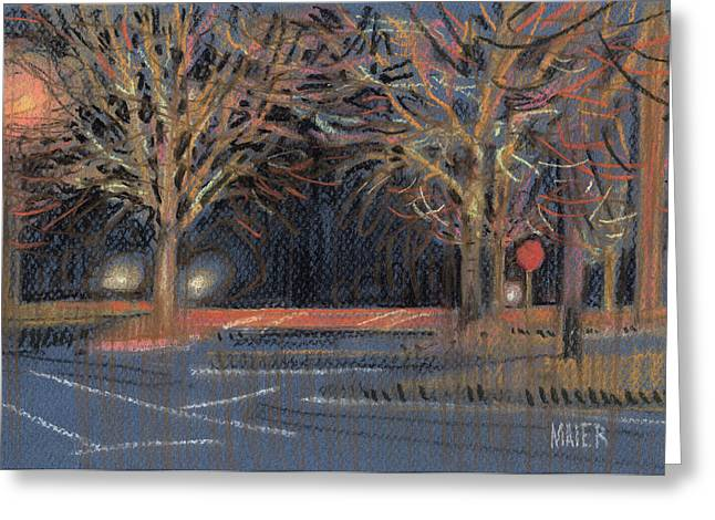 Streets Pastels Greeting Cards - Parking Lot Greeting Card by Donald Maier