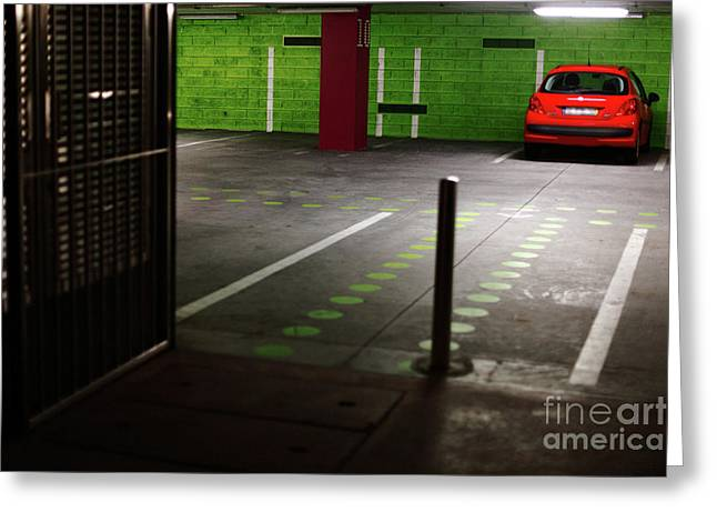 Basement Greeting Cards - Parking lot Greeting Card by Gaspar Avila