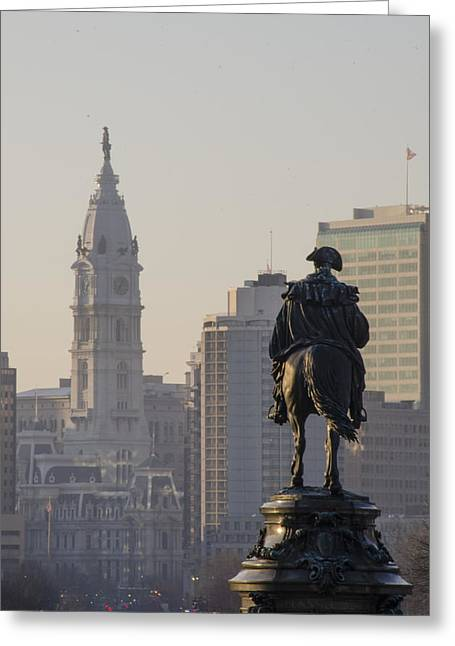 Parkway Digital Greeting Cards - Parkway View Philadelphia Pa Greeting Card by Bill Cannon