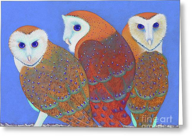 Parliament Of Owls Detail 2 Greeting Card by Tracy L Teeter