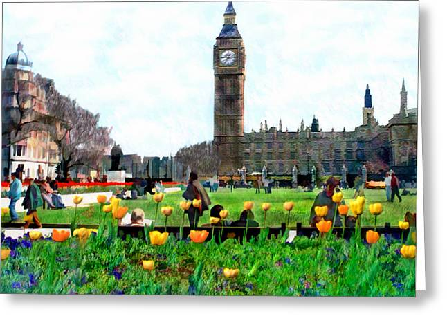 Parliament Square London Greeting Card by Kurt Van Wagner