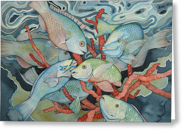 Snorkeling Fish Greeting Cards - Parromania Greeting Card by Liduine Bekman