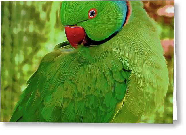 Ewa Greeting Cards - Parrot Greeting Card by Pamela Walton