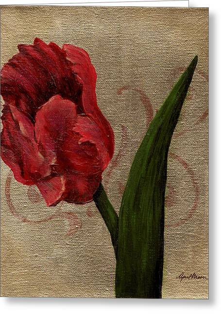Filigree Greeting Cards - Parrot Tulip I Greeting Card by April Moen