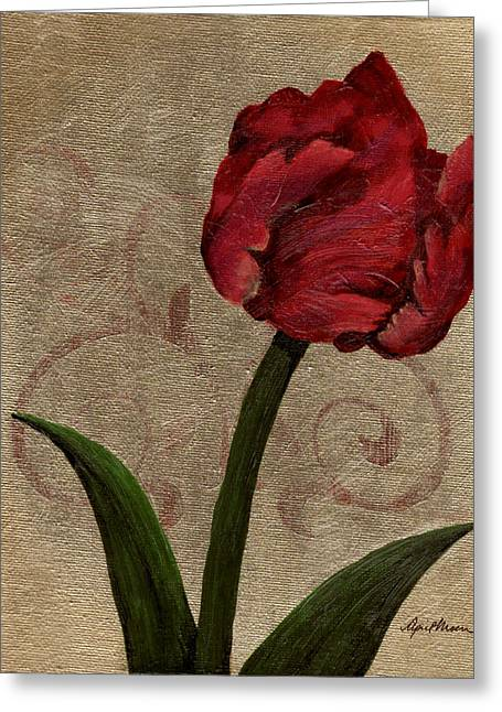 Filigree Greeting Cards - Parrot Tulip II Greeting Card by April Moen