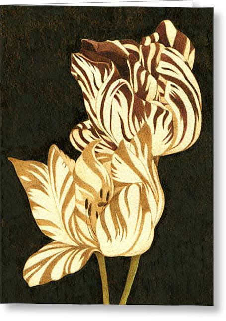 Parrot Pyrography Greeting Cards - Parrot Tulips Abstract Greeting Card by Cate McCauley