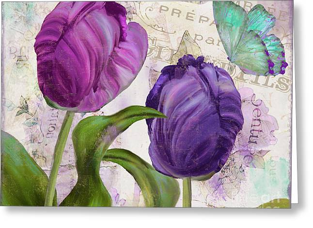 Pink Tulips Greeting Cards - Parrot Tulips Greeting Card by Mindy Sommers