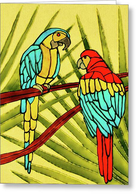 Green Leafs Glass Art Greeting Cards - Parrots Greeting Card by Farah Faizal