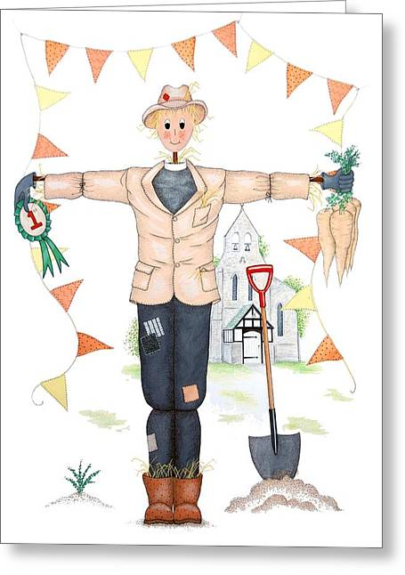 Rosette Greeting Cards - Parson Scarecrow Greeting Card by Sandra Moore