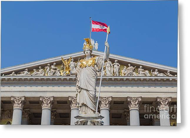 Nike Greeting Cards - Part of the Austrian Parliament Greeting Card by Mike Clegg