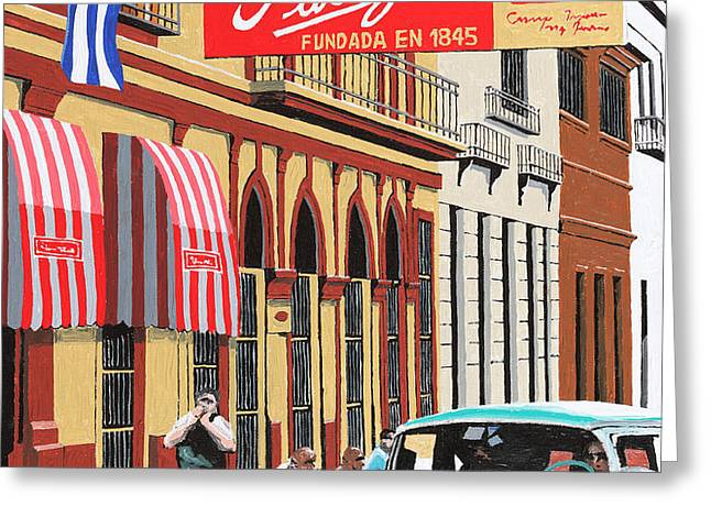 Partagas Cigar Factory Havana Cuba Greeting Card by Miguel G