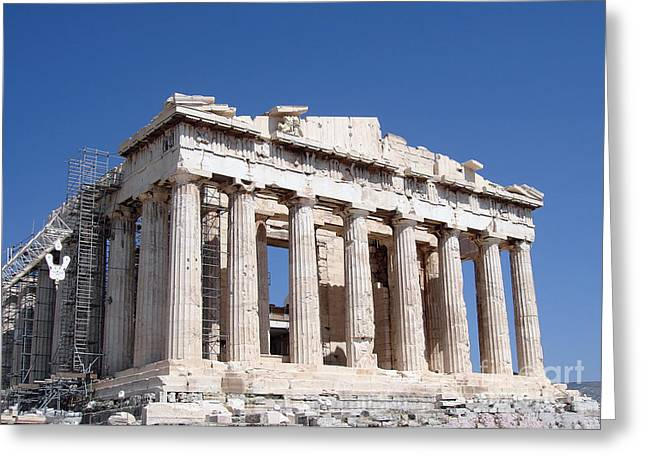 Greek Ruins Greeting Cards - Parthenon front Facade Greeting Card by Jane Rix