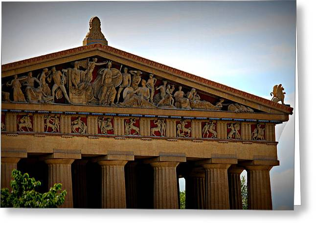 Nashville Tennessee Pyrography Greeting Cards - Parthenon in Color - Nashville Greeting Card by Buffy Butler