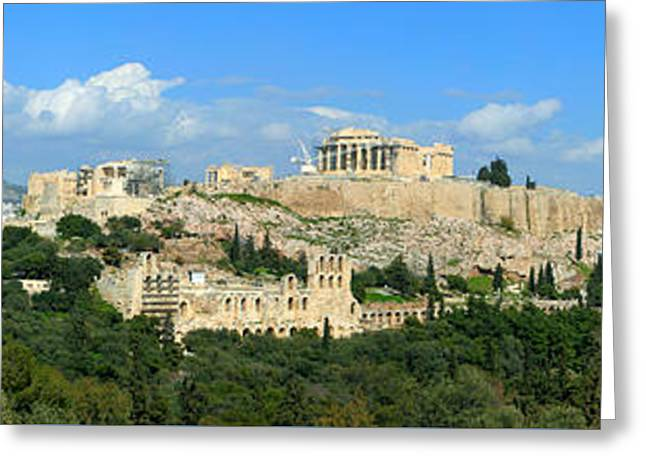 Greek Sculpture Greeting Cards - Parthenon The Acropolis Athens Greece Panoramic photo 70 Degrees Greeting Card by Vassilis Triantafyllidis