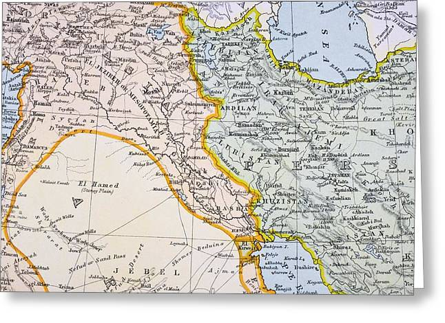 Iraq Drawings Greeting Cards - Partial Map Of Turkey Kurdistan Iraq Greeting Card by Ken Welsh