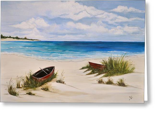 Canoe Paintings Greeting Cards - Partly Cloudy Greeting Card by Debi Starr