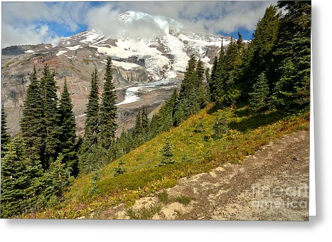 Partly Cloudy Mount Rainier  Greeting Card by Adam Jewell