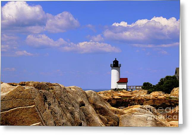Recently Sold -  - New England Ocean Greeting Cards - Partly Cloudy Skies Greeting Card by Hanni Stoklosa