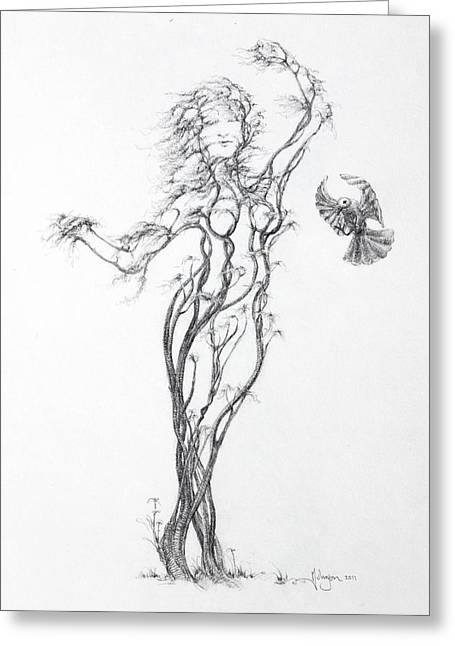 Tree Roots Drawings Greeting Cards - Partners in the Dance Greeting Card by Mark Johnson