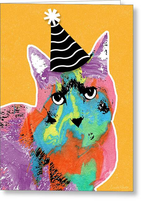 Party Hat Greeting Cards - Party Cat- Art by Linda Woods Greeting Card by Linda Woods