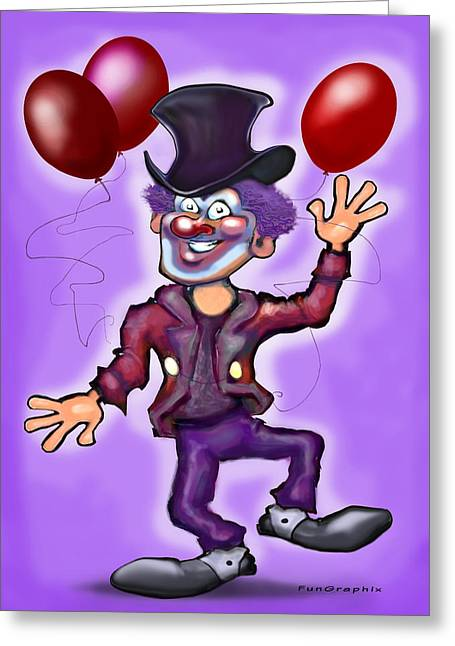 Funny Greeting Cards - Party Clown Greeting Card by Kevin Middleton