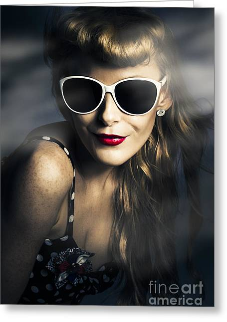 Party Fashion Pin Up Greeting Card by Jorgo Photography - Wall Art Gallery