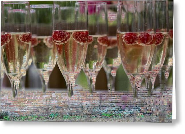 Still; Life; Still-life; Glass; Champagne; Alcohol; Alcoholic; Drink; Drinks; Beverage; Beverages; Fruit; Peach; Plum; Peaches; Plum; Bunch; Grapes; Bunch Of Grapes; Marble; Ledge; Baroque; Dutch Greeting Cards - Party Hard Greeting Card by Jan Amiss Photography