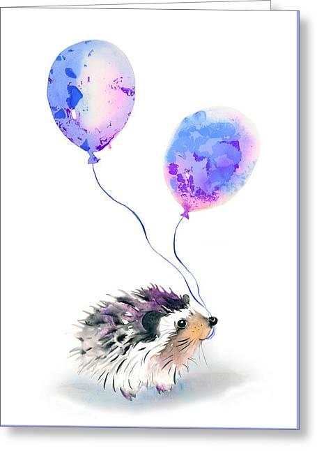 Party Hedgehog Greeting Card by Kristina Bros