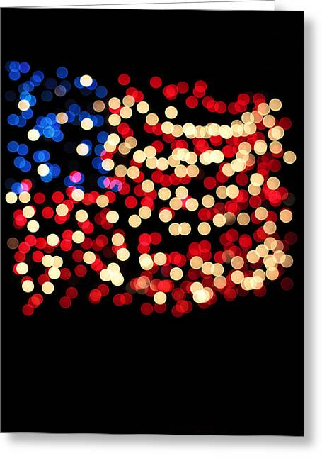 4th July Photographs Greeting Cards - Party Lights In The Shape Greeting Card by Ink and Main