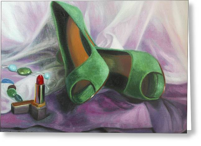 Lipstick Greeting Cards - Party Shoes Greeting Card by Anna Bain
