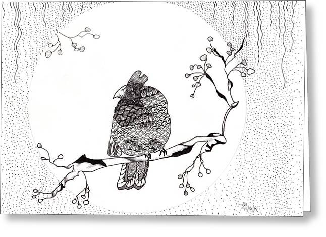 Recently Sold -  - White Drawings Greeting Cards - Party Time in Birdville Greeting Card by The Sandwich  Woman