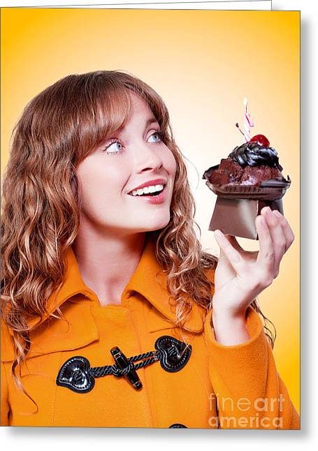 Speculation Greeting Cards - Party woman holding birthday cake with lit candle Greeting Card by Ryan Jorgensen