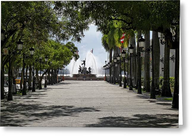 Paseo De La Princesa In San Juan Greeting Card by George Oze