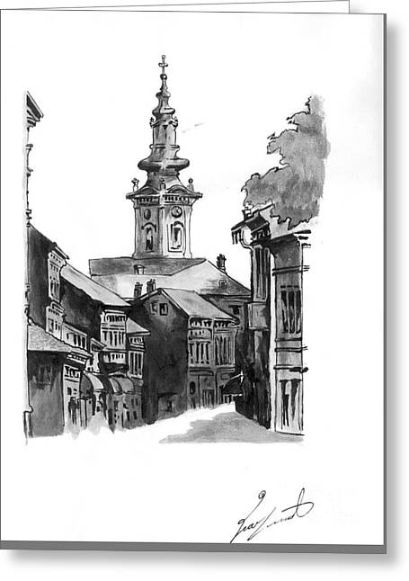 Orthodox Drawings Greeting Cards - Pasiceva street Greeting Card by Dragoslav Cupic