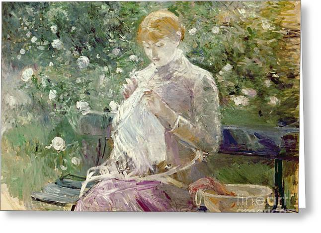 Berthe (1841-95) Greeting Cards - Pasie sewing in Bougivals Garden Greeting Card by Berthe Morisot