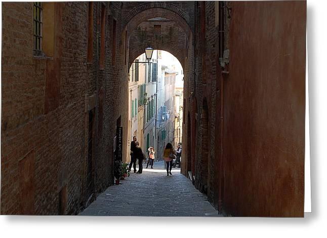 Sienna Italy Greeting Cards - Passageway Greeting Card by Hasan Malik Avunduk