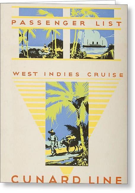 Boat Cruise Drawings Greeting Cards - Passenger List, West Indies Cruise Greeting Card by Vintage Design Pics