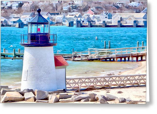 Ocean Art Photos Greeting Cards - Passing Brandt Point lighthouse Greeting Card by Jeff Folger