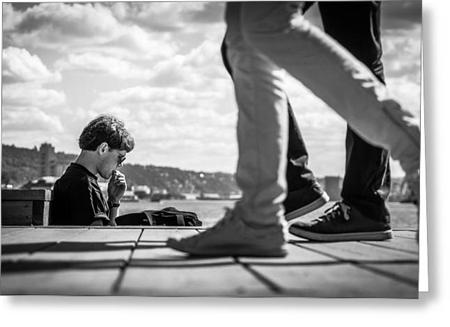 Passing By - Oslo, Norway - Black And White Street Photography Greeting Card by Giuseppe Milo