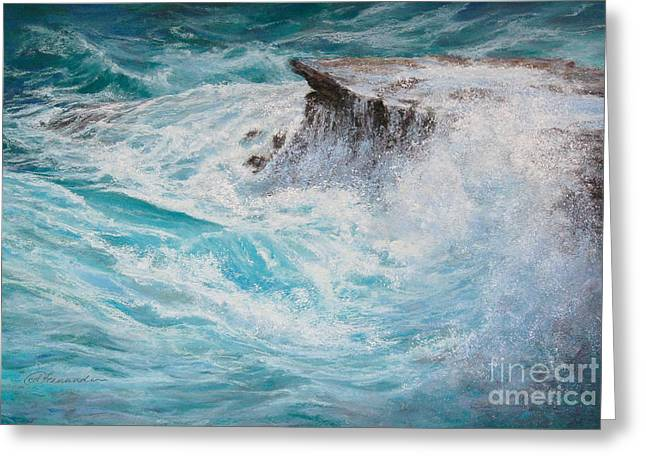 Whitewater Pastels Greeting Cards - Passing Swell Greeting Card by Candace D Fenander