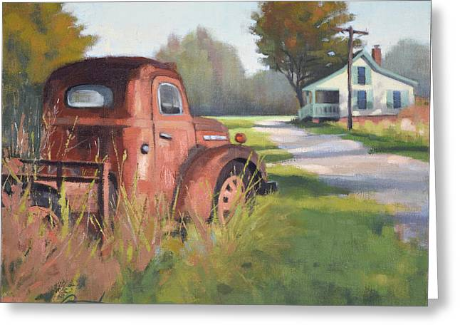 Passing Through Red Oak Greeting Card by Todd Baxter