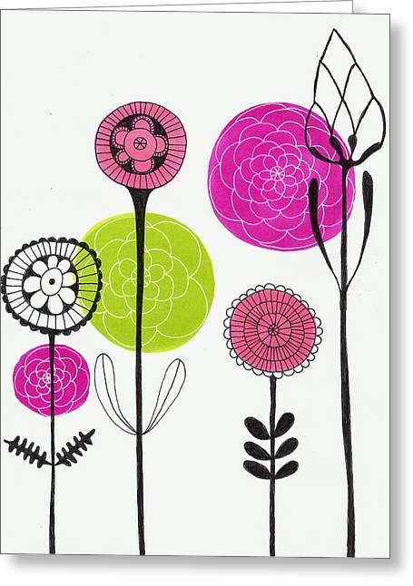 Lisa Noneman Mixed Media Greeting Cards - Passion Flowers Greeting Card by Lisa Noneman