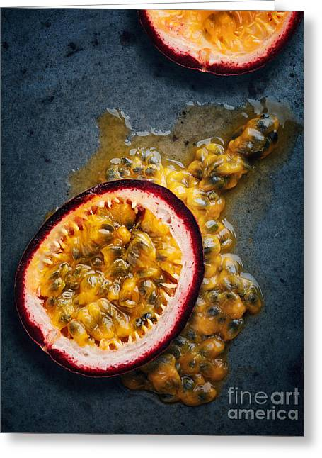 Slices Greeting Cards - Passion fruit halved Greeting Card by Johan Swanepoel