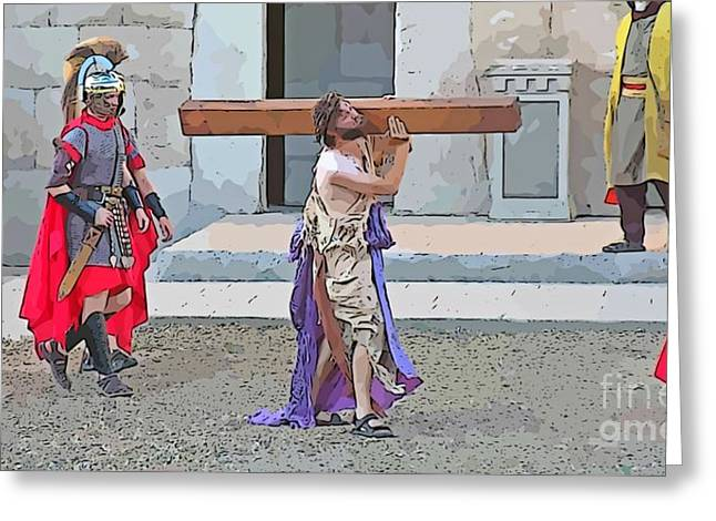 Passion Of Christ Painting  Greeting Card by John Malone