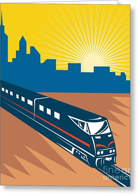 Electric Train Greeting Cards - Passnger Train Greeting Card by Aloysius Patrimonio