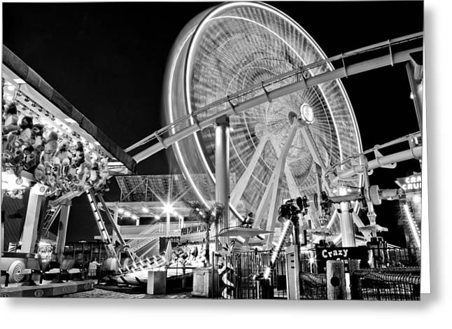 Ferris Wheel Night Photography Greeting Cards - Past Time Greeting Card by Aron Kearney Fine Art Photography