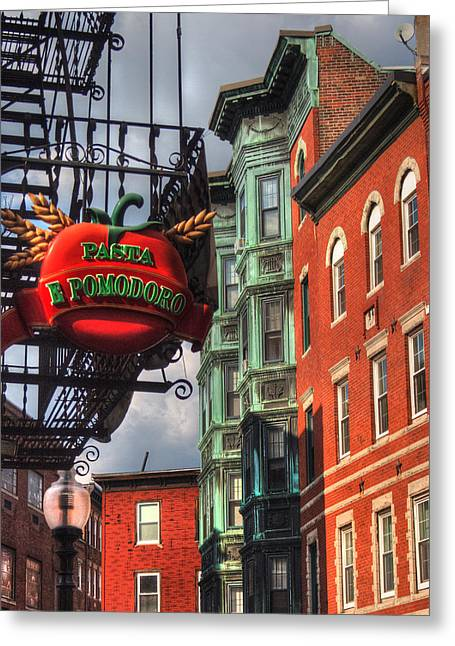 Italian Restaurant Photographs Greeting Cards - Pasta E Pomodoro - Boston North End Greeting Card by Joann Vitali