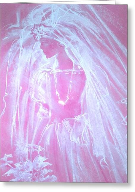 Veiled Pastels Greeting Cards - Pastel Bride Greeting Card by Linda Crockett
